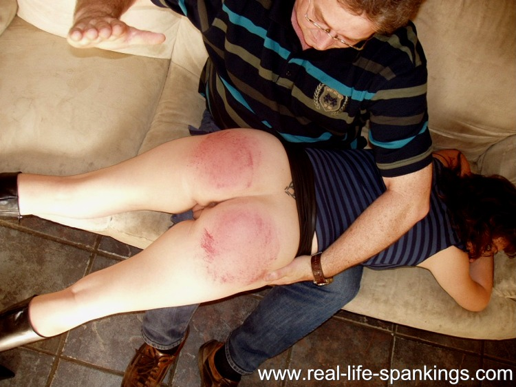 Spanked on her bare bottom hard