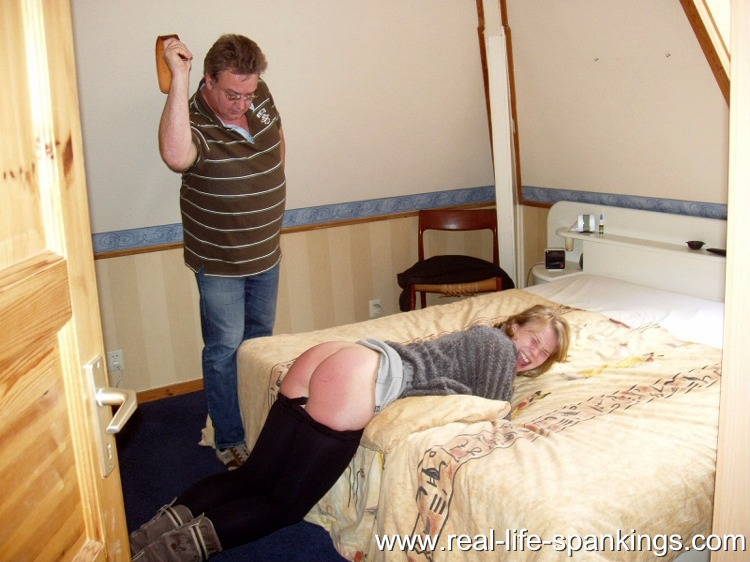 Corporalpunishmentblog Daughter spanked while laying on